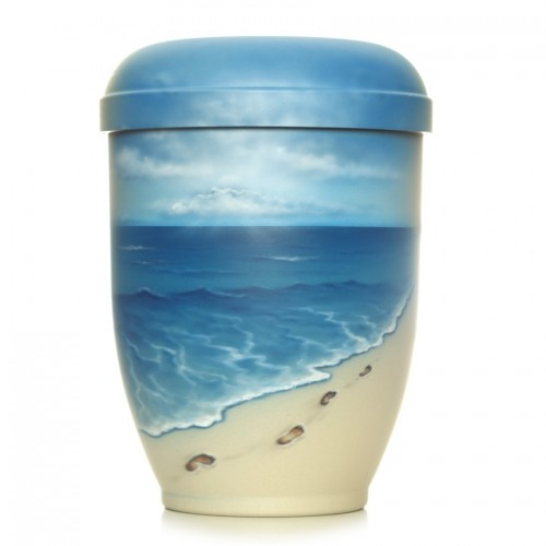 Hand Painted Biodegradable Cremation Ashes Urn - Footprints in the Sand
